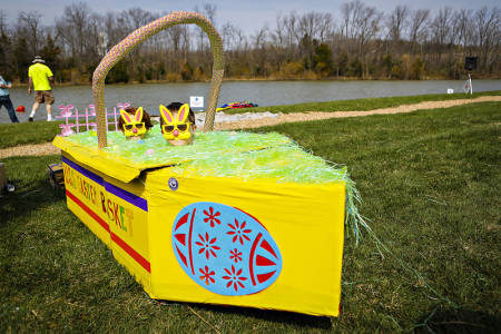 The USS Easter Baskett was piloted by Katy Purcell, 9, and Ty Eversole, 9.
