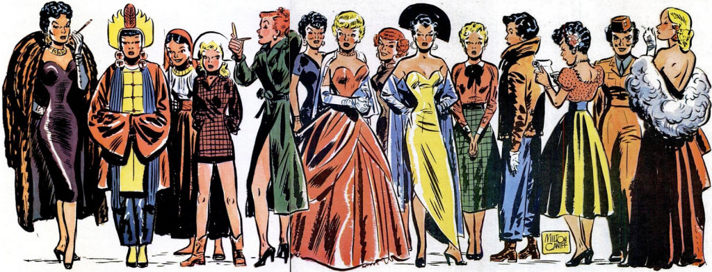 Steve Canyon had many girlfriends in his comic strip. Miss Mizzou is center-left. Courtesy the Historical Archives of Time-Life.