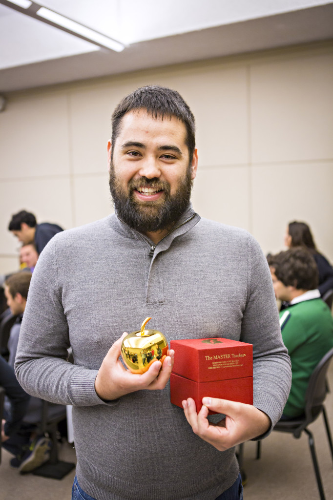 Watanabe with his Golden Apple award.