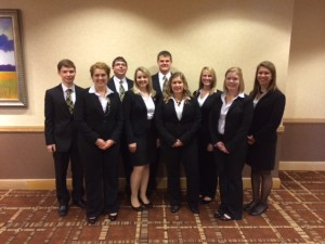 The 2014 Mizzou Student NAMA Competition team back, left to right is, Drake Meyer, freshman, agricultural business; Marc Griffith, senior, agricultural business; Marc Rosenbohm, senior, agricultural business; Shelby Lane, senior, agricultural business; Sabrina Cope, junior, science and agricultural journalism.  Front, left to right, Courtney McBay, senior, agricultural education; Lydia Manson, senior, agricultural business; Sonja Gjerde, senior, science and agricultural journalism; Madison Williams, sophomore, science and agricultural journalism.