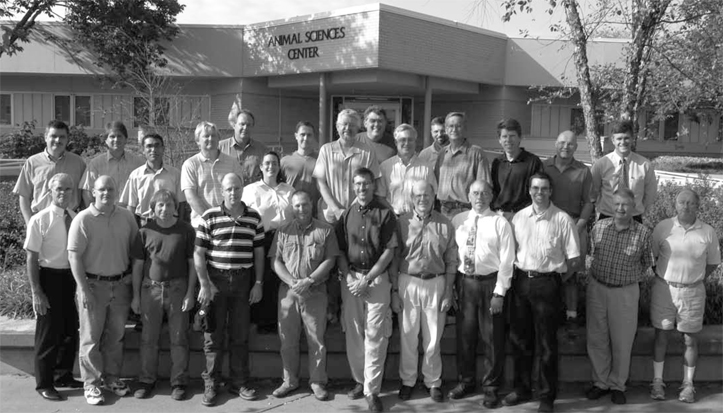 The MU Animal Sciences faculty in 2006 -- the 100 year anniversary of the division. George Jesse is in the first row, far left.
