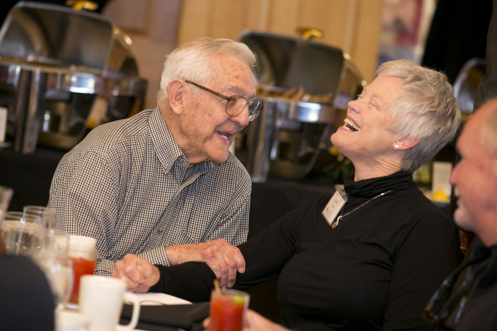 Bill Crawford and Diana Hallett catch up at the brunch.