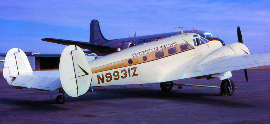 Mizzou's second airplane, serial number AF-645, was built in 1943 and served in the Army Air Corps before being released to civilian use. This airplane is still flying. Courtesy Beech Historical Society.