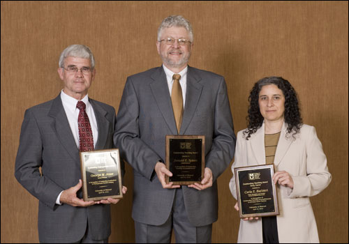 Dr. Jesse accepting the 2010 Outstanding Undergraduate Adviser award at CAFNR's Celebration of Excellence. Also pictured, Outstanding Senior Teacher, Donald Spiers, and Outstanding Early Career Teacher, Carla Barbieri.