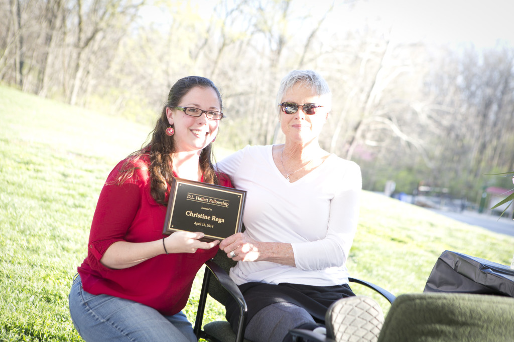Diana Hallett, right, with Christine Rega, the first recipient of the D.L. Hallett Fellowship at the gift announcement April 18.