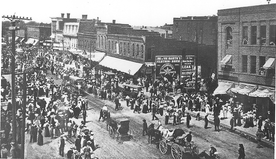 Columbia's downtown was jammed with visitors in 1919 when 4,000 farmers invaded the city of 10,000 people. This was the scene on Broadway. Courtesy Boone County Historical Society.