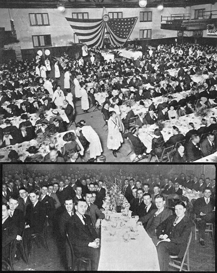 The 1921 Farmers' Week Banquet was held in Rothwell Gymnasium. Speakers included Iowa Governor W.L. Harding, MU Chancellor A. Ross Hill and Hiram Lloyd, lieutenant governor of Missouri. Courtesy the Savitar.