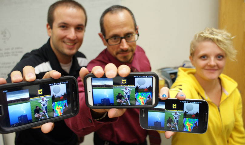 Peter Speck, Tony Lupo and Alzina Foscato, a graduate student in atmospheric science.