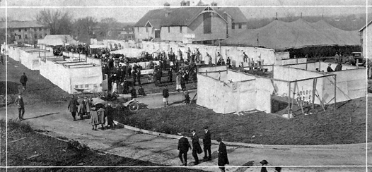 Farmers' Week midway in 1922. Note old Dairy Barn at upper right and Connaway Hall at upper left. Courtesy University Archives.