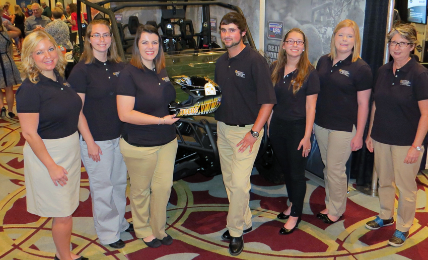 Members of the University of Missouri ACT Chapter won a scholarship from Yamaha that helped cover travel costs for the group to attend the Ag Media Summit in Indianapolis this past July. Pictured are (left to right) Breanne Brammer, Courtney Leeper, Natalie Helms, Josh Booth, Ashley Craft, Madison Williams and Sharon Wood-Turley.