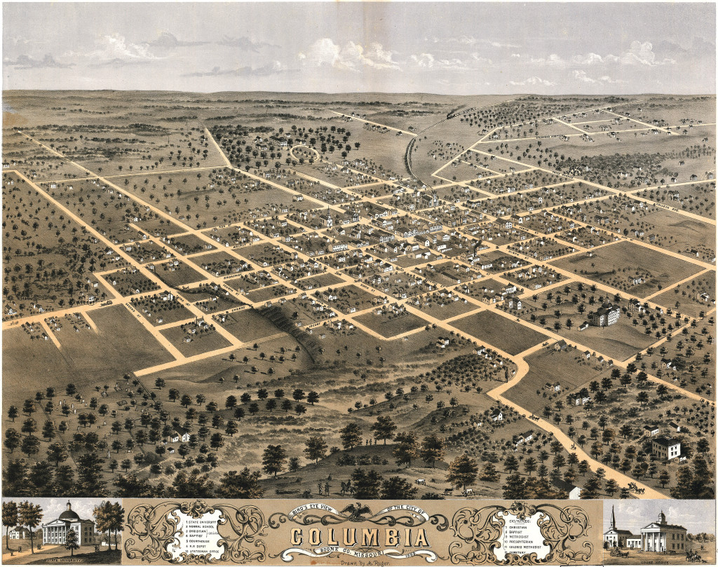 The University of Missouri consisted of one building, Academic Hall, in this 1868 illustration (right, just below center). Boone County and Columbia advocates purchased 640 acres of farmland (lower left) as an inducement to capture the college of agriculture. Courtesy Library of Congress.