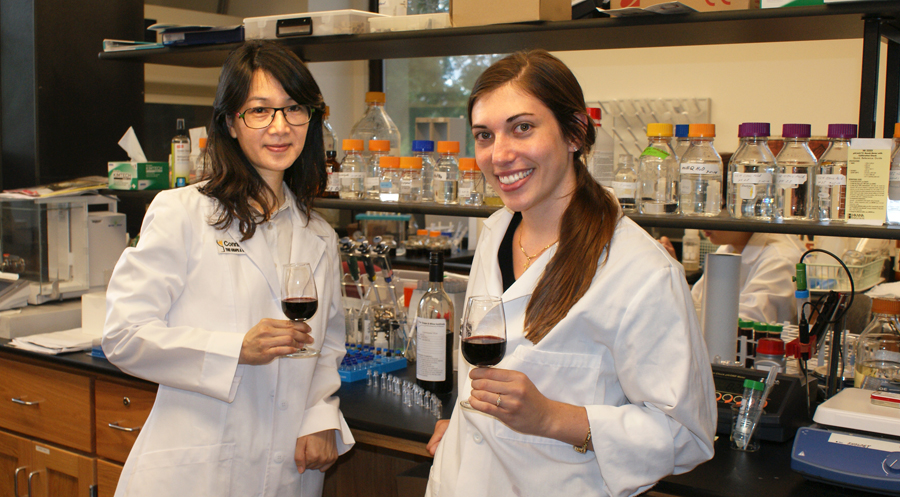 Connie Liu, a Grape and Wine Institute research specialist, and Megan Wasielewski, a Food Science graduate students, are among the new group encouraging women to enter the wine industry.