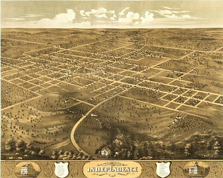 Independence envisioned the college of agriculture west of the town center, lower left in this 1868 illustration. Courtesy Library of Congress.