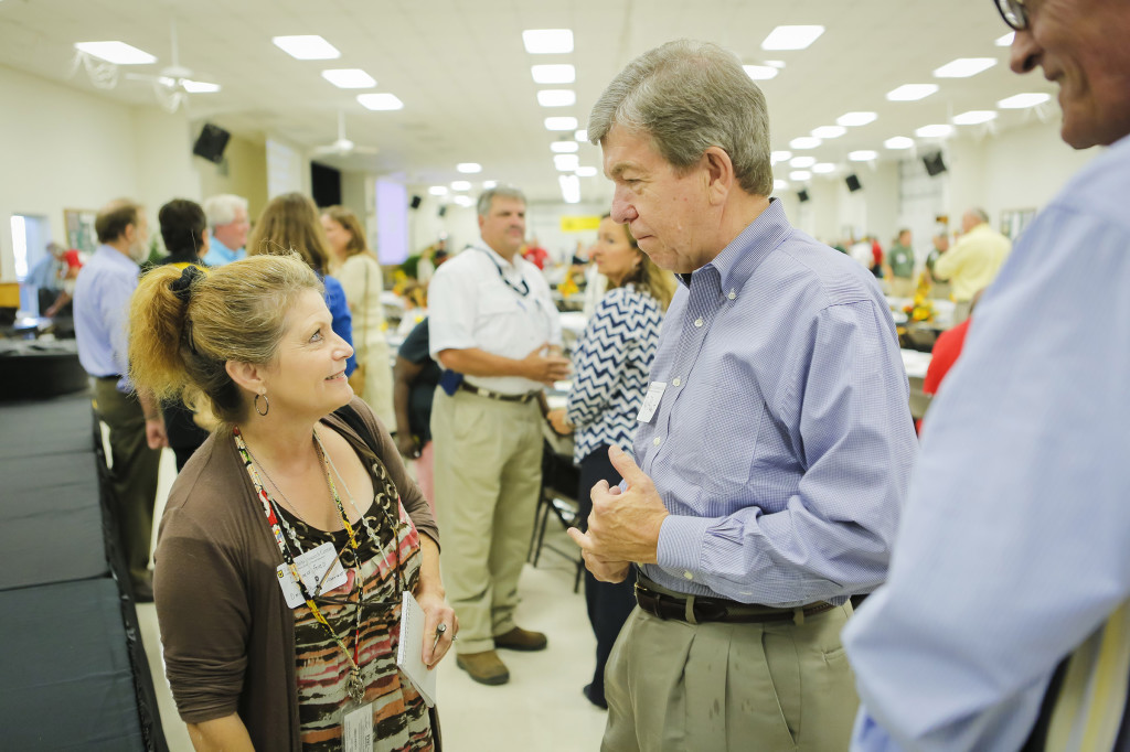 US Sen. Roy Blunt talks with a reporter.