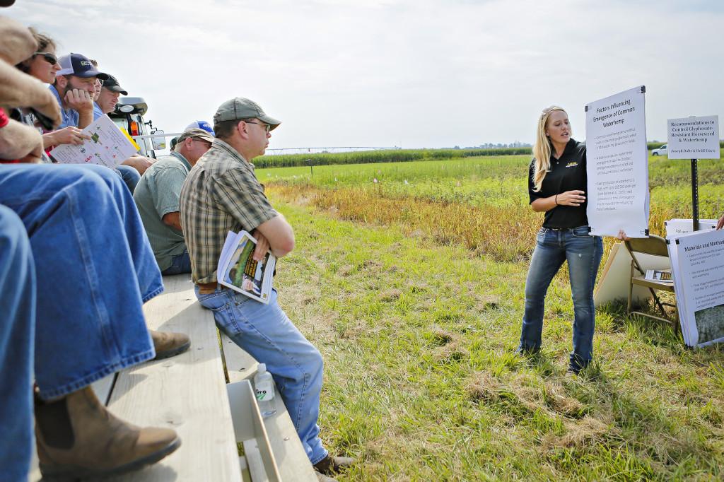 Heidi Davis, graduate student in weed sciences, speaks about glyphosate-resistent waterhemp and control of horseweed.
