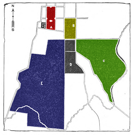 "Adaptation of an 1880 Mizzou map showing the location of the MU College of Agriculture Farms. The red square is the 22 acres of the MU Quad. The other shaded areas were the 640 acres of the agricultural farms. The yellow-green block designated ""B"" today contains MU's Memorial Union, Gentry and Read Halls, and the Agriculture Building. The green ""C"" area is now the location of the Animal Sciences Research Center and College of Veterinary Medicine. The blue ""E"" was the Horticulture Farm, now the home to some of MU Athletics and University of Missouri Healthcare."