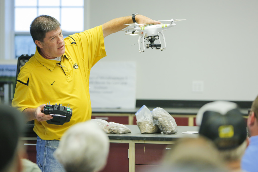 MU Extension Natural Resources Engineering Specialist Kent Shannon shared the latest updates in UAS technology and regulations at the Hundley-Whaley Research Center in August. Shannon showed the crowd what cameras the UAS has and what they can capture to help farmers.