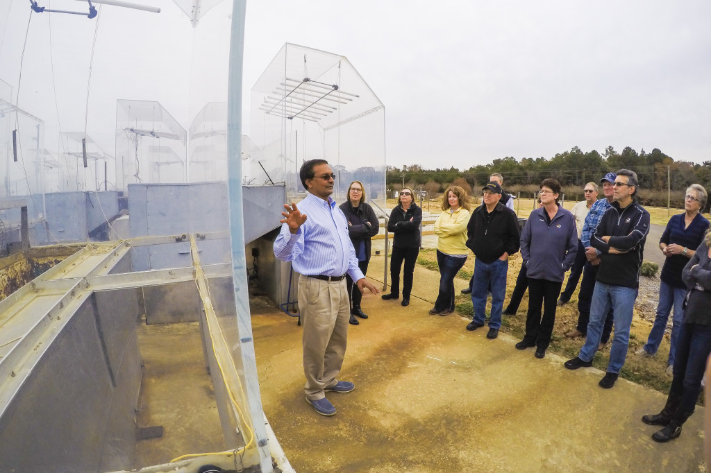 Research Professor Dr. K. Raja Reddy leads the group on a tour of North Farm's SPAR Units. The chambers can simulate different atmosphere models including predictions of what scientists will believe earth will be like in 2050 or 2100. The chambers allow for research on planting dates, drought tolerance and ways to monitor root growth.