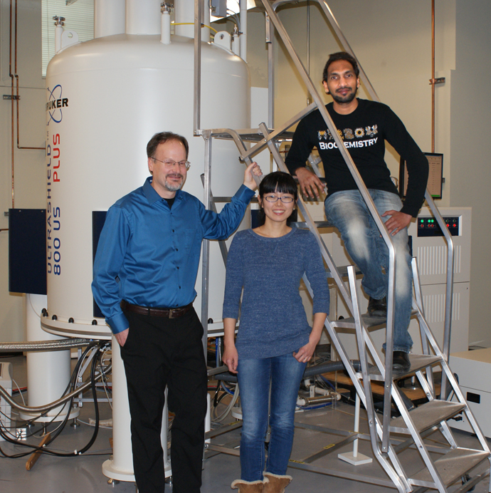 The research team and the magnetic resonance spectrometer: Steven Van Doren, professor; Yan Fulcher, postdoctoral scholar; and Rama Koppisetti, research specialist.