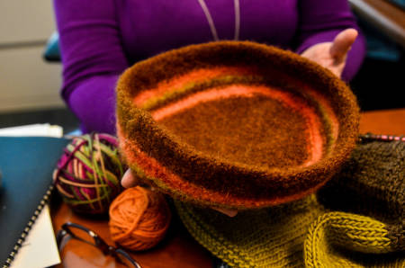A felted bowl, created by Laura.