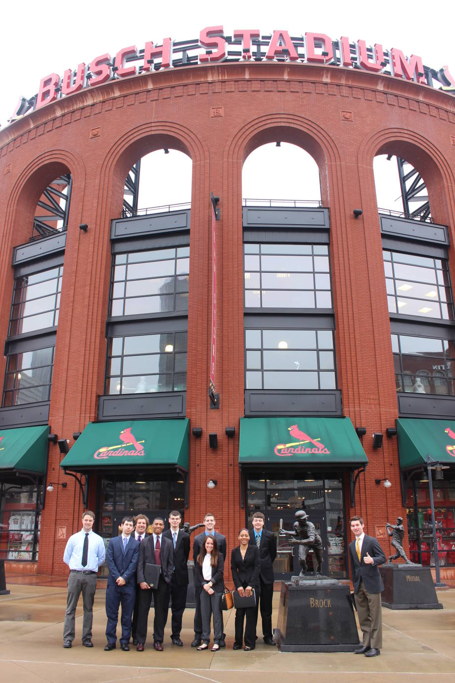 Students outside of Busch Stadium, home of the St. Louis Cardinals.