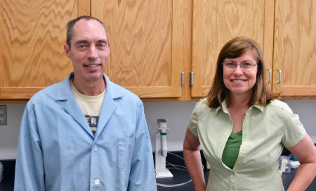 Russell Dresbach and Donna Brandt oversee the operations of the Soil Health Assessment Center at the South Farm Research Center.