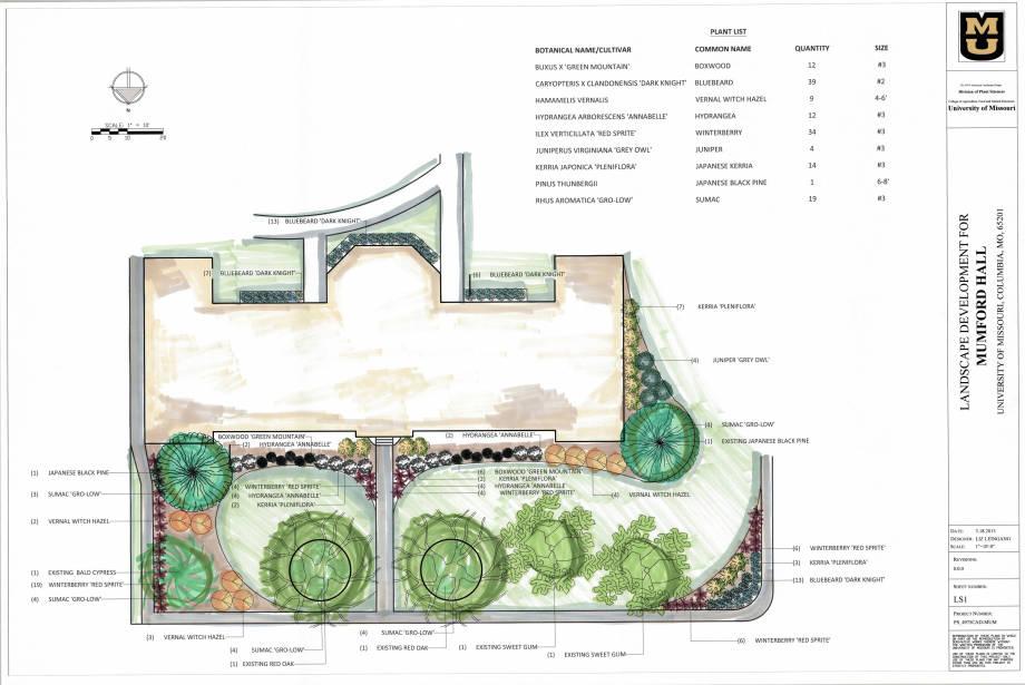 Liz Leingang's Mumford Hall landscape plans.