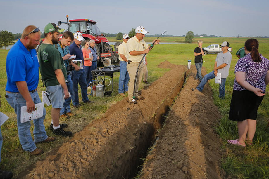 Kelly Nelson discusses drip irrigation during Greenley's Field Day last year. Nelson will present on cover crop management at this year's Field Day.