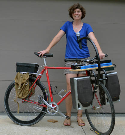 """The """"speaker bike"""" that Lisa Webb's husband built features a karaoke system and two speakers in the front. The bike has first debuted in 2012. Photo by Stephen Schmidt."""