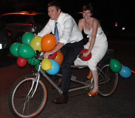 Lisa Webb and her husband, Keith, pedaled away in a tandem bike following their wedding in 2008 in western Arkansas. Photo courtesy of Lisa Webb.