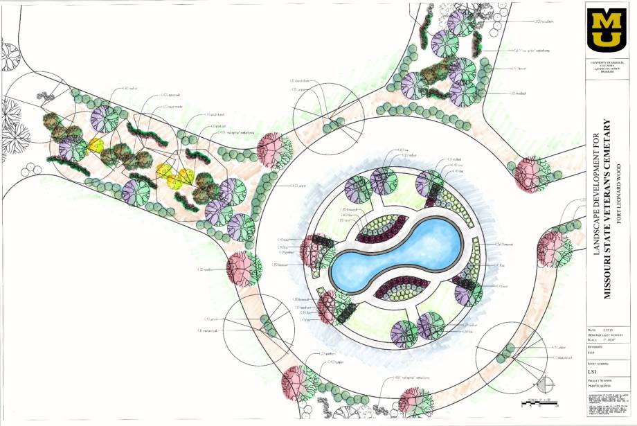 Wernert's design had to cover 25 acres of the 227-acre site. This drawing incorporates her plans for the memorial fountain feature.