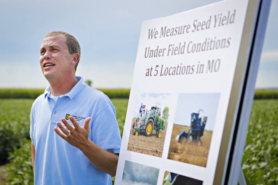 Andrew Scaboo discussed his soybean research during last year's Graves-Chapple Research Center Field Day.