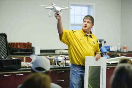 Kent Shannon, natural resource engineer for MU Extension, spoke about UAVs (drones) during the Hundley-Whaley Field Day last year. Shannon will be back at this year's Field Day to discuss using UAVs for crop scouting.