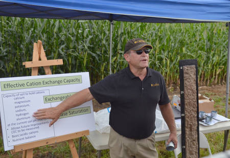 Randy Miles, associate professor of soil, environment and atmospheric sciences, presents on how to manage cover crops for improved soil health during the 38th annual Greenley Memorial Research Center Field Day.