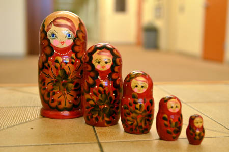 These matryoshka dolls that Tony Lupo bought at an open-air market in Russia are among his favorite souvenirs from his recent lengthy stay in the country. Photo by Stephen Schmidt.