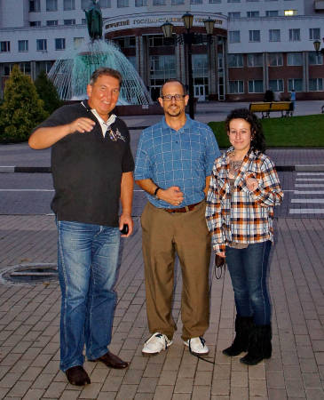 During his time in Russia, Tony Lupo was able to generate material for several academic papers with his long-time colleague Yury Chendev, right. In addition he was able to tour the local sites with his daughter Mary, who spent the Fall 2014 semester abroad at Belgorod as an MU student. Photo courtesy of Tony Lupo.