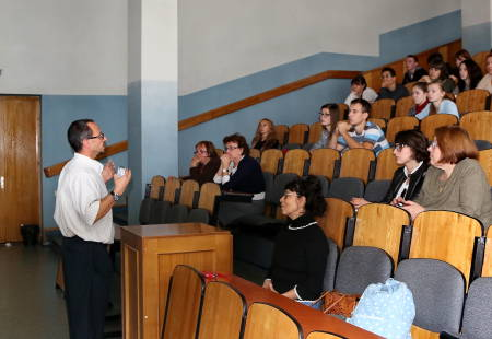 Tony Lupo, professor of atmospheric science, lectures in a classroom at Belgorod State University in Belogrod, Russia, as a Fulbright Scholar. Photo courtesy of Tony Lupo.