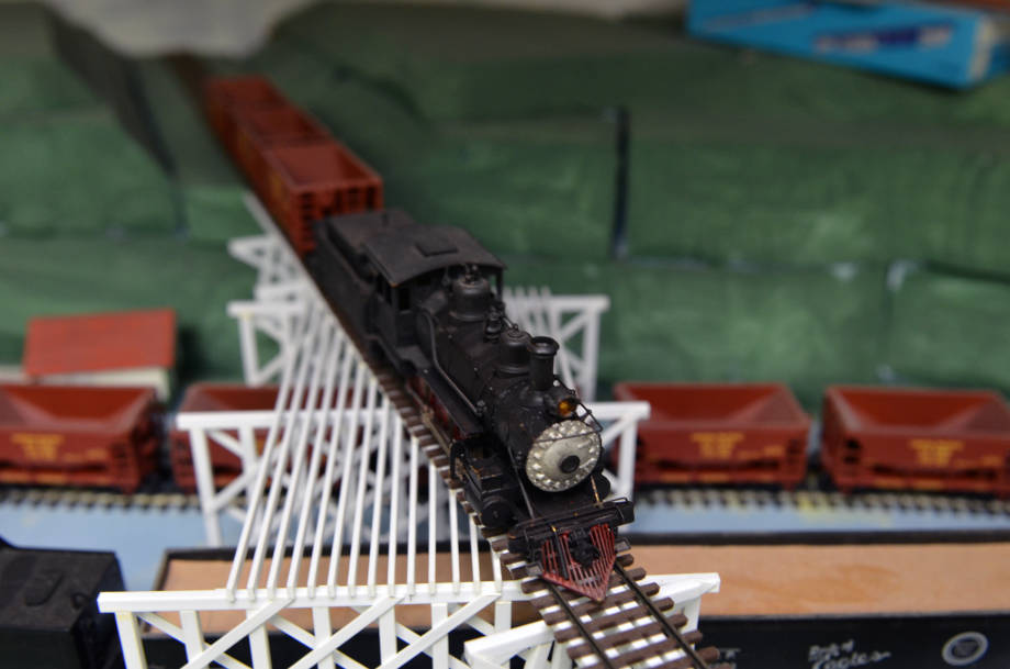 This black locomotive model train was given to Jim Reese from his father, Gerald. It is one of many that Reese owns.