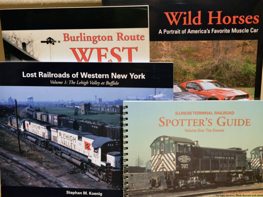 Here is just a small collection of the many coffee table books about railroads that Jim has either published or written, often with the help of his wife, Jean Brueggenjohann.