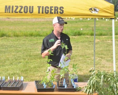 Jaime Farmer presents during the Pest Management Field Day, held at the Bradford Research Center, on July 16.