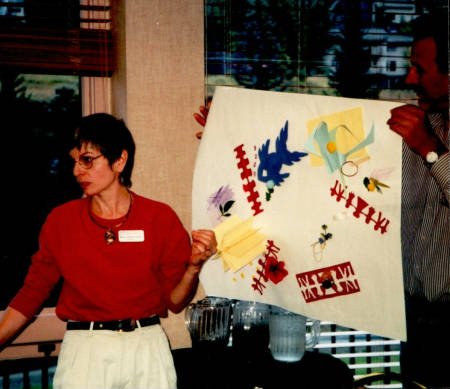 Mary Leuci gives a presentation during a seminar in Vail, Colorado, in 1999 for other community engagement and outreach specialists. Throughout her career, she has worked at finding new visual ways to make topics interesting and engaging to audience members.