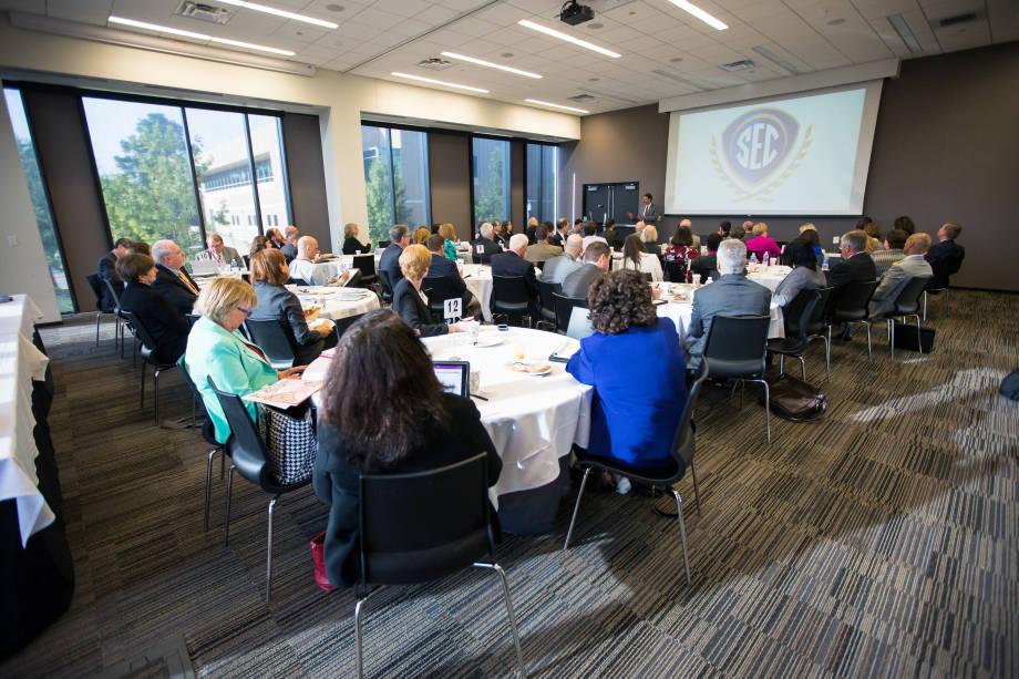 SEC school delegates listen to a speaker at the most Academic Leadership Development Program held at the University of Arkansas. Photo courtesy of the University of Arkansas.