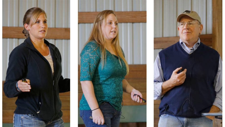 Brianne Bishop, Jill Abel and David Patterson gave a joint presentation on enhancing pregnancy rates with split-time artificial insemination at the recent Thompson Research Center Field Day. Photos by Logan Jackson.