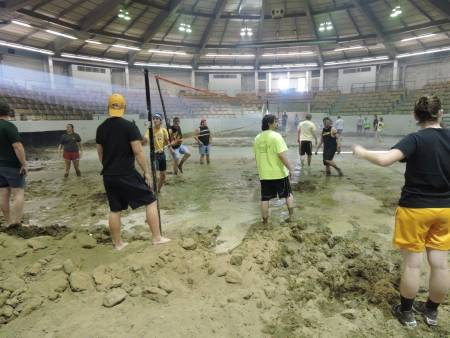 Students in MU's College of Agriculture, Food and Natural Resources participate in a game of mud volleyball at Trowbridge Livestock Center. The tournament was hosted as part of CAFNR Week, a week long celebration of the CAFNR community.