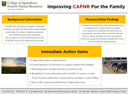 The committee created this poster to update CAFNR faculty, staff and students on their work. Courtesy Amanda Swaim.