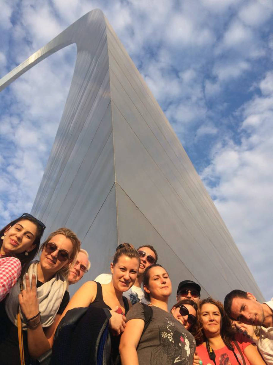 The Bulgarian delegation spent several days in St. Louis, and had some time to check out the Gateway Arch. Photo courtesy of the CAFNR International Programs Facebook page.