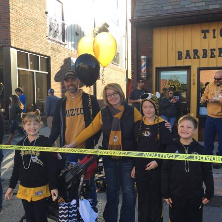 Whitesell and family at Mizzou Homecoming parade.