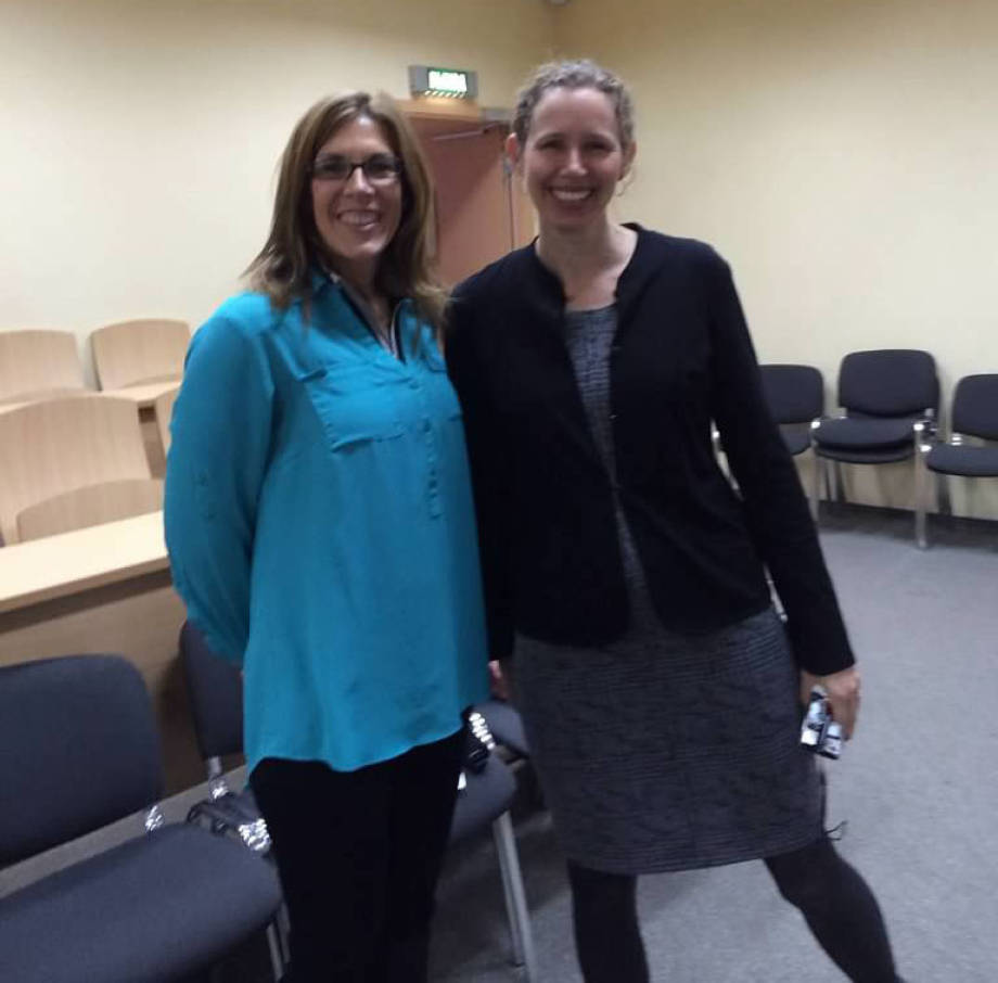 Anna Ball, MU, and Claire Schneeberger, Monarch Media, snap a quick picture together in Russia. Photo courtesy of Claire Schneeberger.