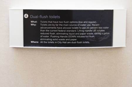 The dual-flush toilets at Columbia's City Hall featured little black signs above the toilets that explain how to use them properly. These signs had not been installed before or during the field study that Laura McCann and her graduate student conducted in 2011.