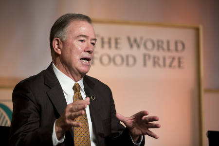 Brady Deaton, who runs the Deaton Institute with his wife, Anne, talks during a forum discussion at last year's World Food Prize. Photo courtesy of the World Food Prize.